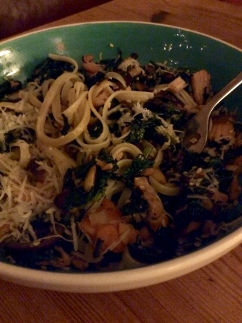 Kale and salmon pasta