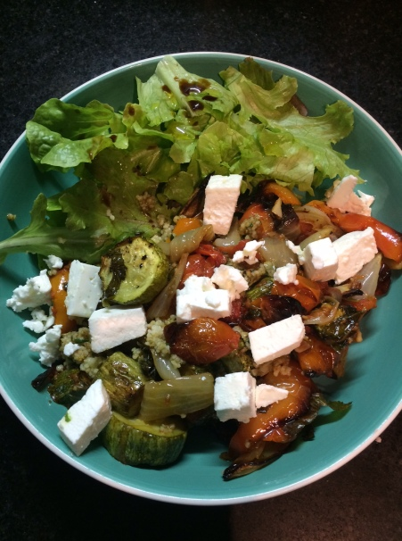 Roast veg salad in bowl