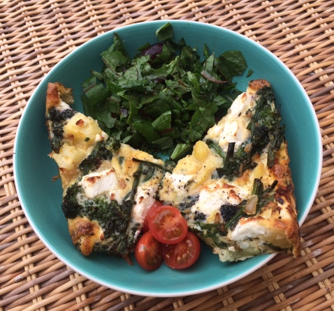 Broccoli frittata with sorrel mint salad